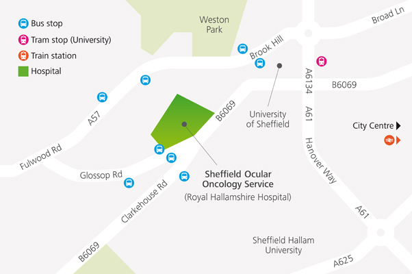 Map showing directions to Sheffield Ocular Oncology Service | The Royal Hallamshire Hospital